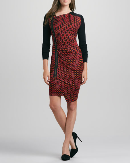 Asymmetric-Zip Combo Dress