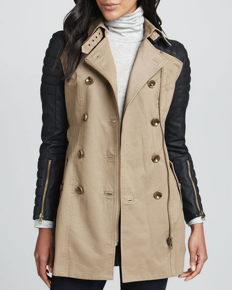 Moto-Sleeve Combo Trench Coat