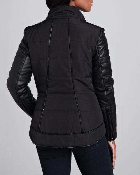 Quilted Leather-Sleeve Jacket