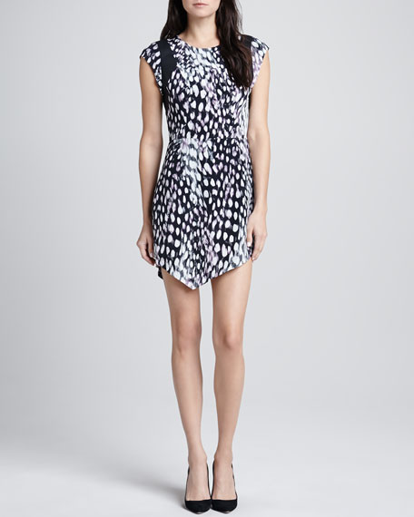 Printed Peaked-Hem Dress