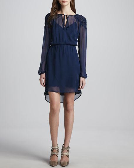 Long-Sleeve Pucker-Shoulder Dress