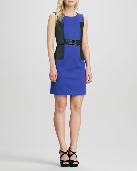 Jewel-Neck Belted Dress
