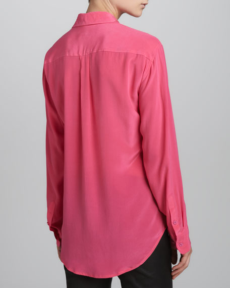 Signature Vintage Wash Silk Blouse, Fuchsia