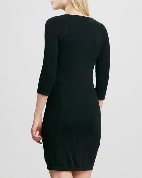 Scroll-Print V-Neck Sweaterdress