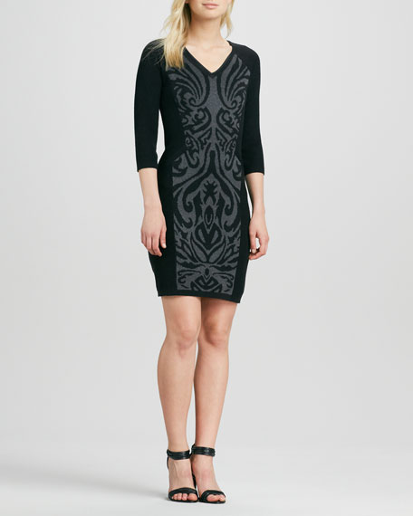 Scroll-Print V-Neck Sweaterdress