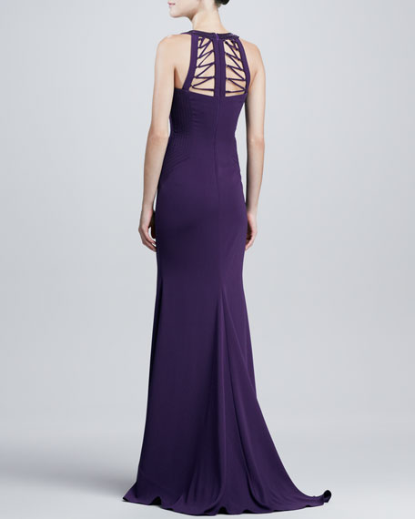 Sleeveless Lace-Up Back Gown