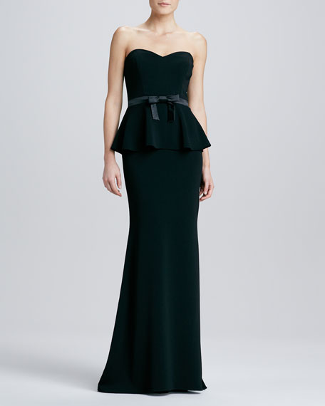 Strapless Satin-Bow Peplum Gown