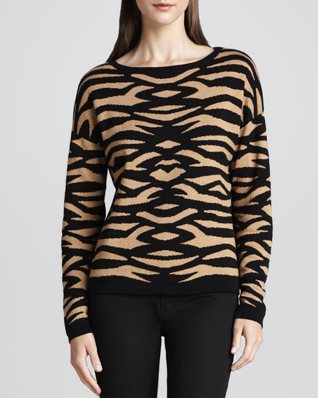 Zebra-Pattern Intarsia Pullover