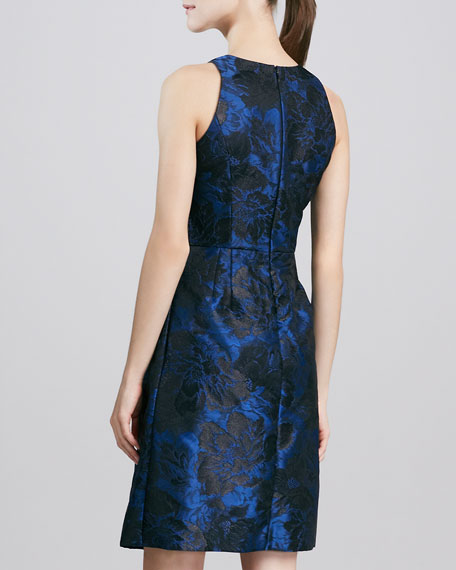 Sleeveless Jewel-Neck Brocade Cocktail Dress