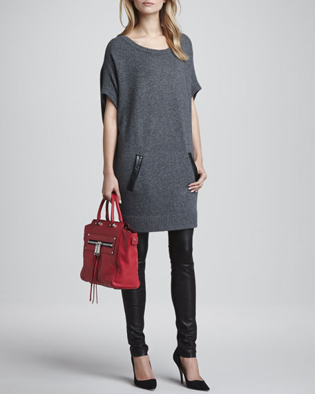 Slouchy Leather-Pocket Dress