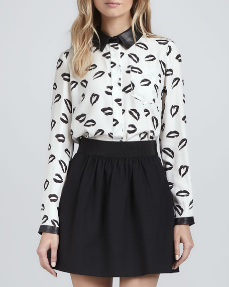 Printed Blouse with Leather Collar & Cuffs