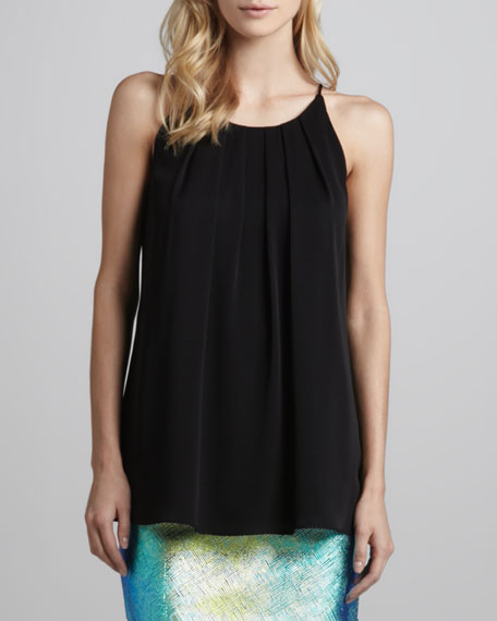 Pleated Stretch Charmeuse Tank