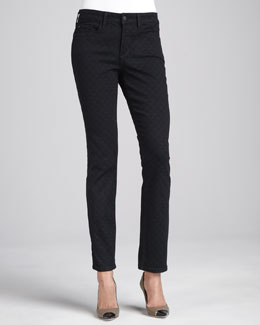NYDJ Marilyn Straight-Leg Diamond-Print Jeans