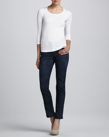 Sheri Lattice-Wash Skinny Jeans