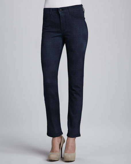 Sheri Lattice-Wash Skinny Jeans