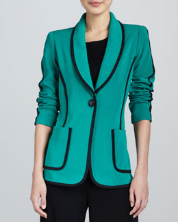 Misook Modern Faux-Suede-Piped Jacket, Women's