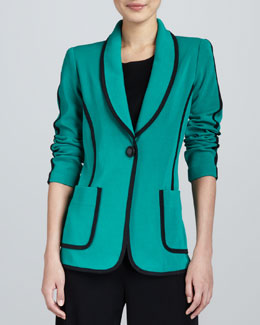 Misook Modern Faux-Suede-Piped Jacket