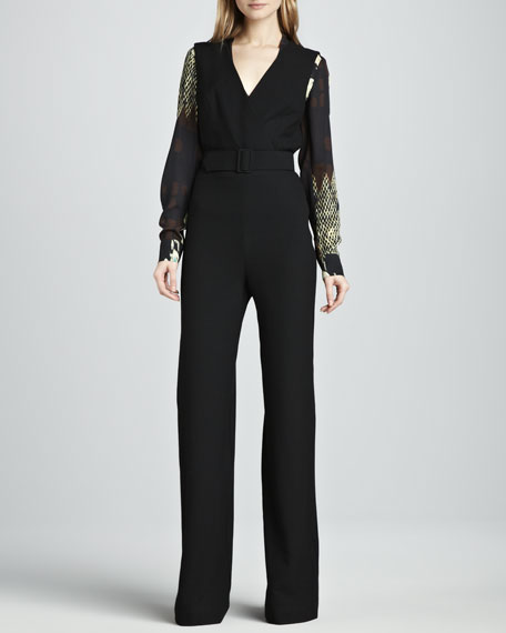 Gianette Belted Crepe Jumpsuit