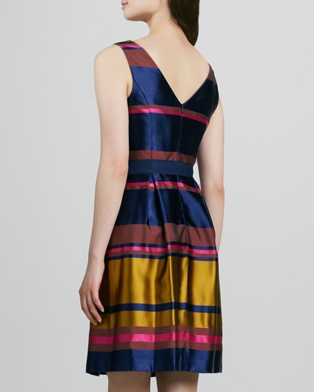 Sabra Striped Shantung Dress