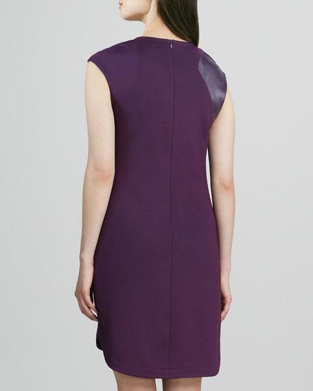Leather-Shoulder Ponte Dress