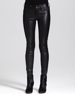 rag & bone/JEAN The Skinny Leather Jeans, Black
