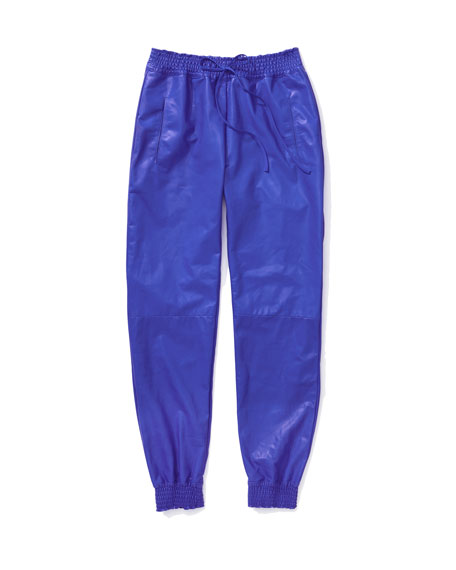 Leather Smock-Trim Track Pants