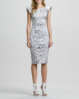 Alexis Leopard-Print Dress with Flared Capped Sleeves