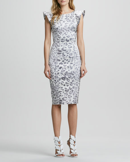 Leopard-Print Dress with Flared Capped Sleeves