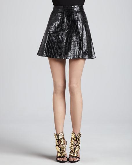 Hayes Crocodile-Embossed Skirt