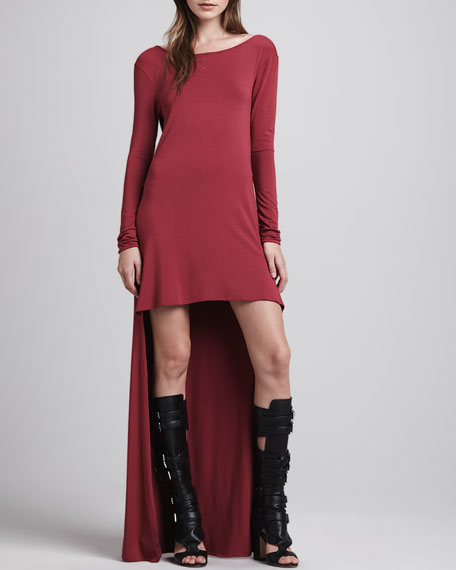 Maddie High-Low Dress, Deep Red