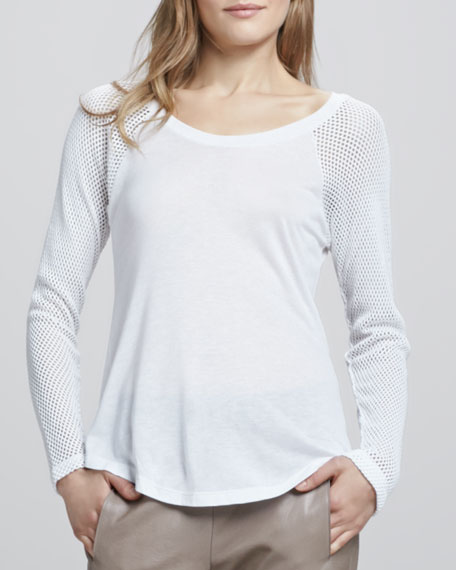 Muriel Perforated-Sleeve Top, White