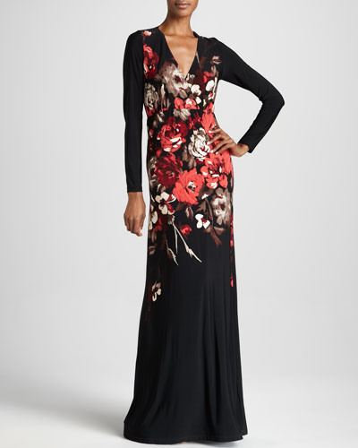 Melissa Masse Poppy Print Maxi Dress