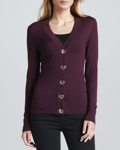 Simone Logo-Button Cardigan, Dark Plum Melange