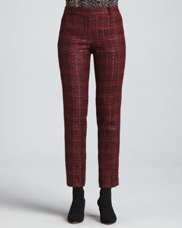 Tory Burch Drew Glazed Tweed Pants, Dark Plum