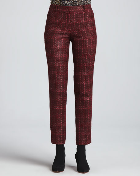 Drew Glazed Tweed Pants, Dark Plum