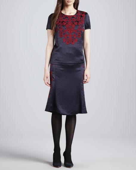 Uma Embroidered Satin Skirt