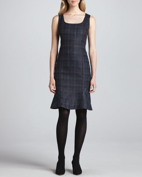 Glazed Tweed Drew Dress, Navy