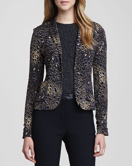 Galena Fitted Leopard Jacquard Jacket
