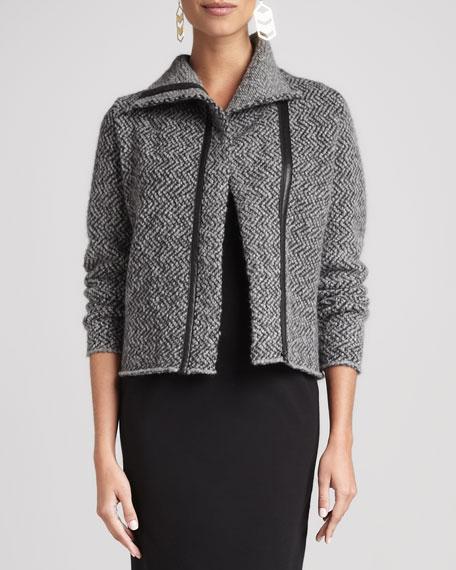 Herringbone Zip-Front Jacket
