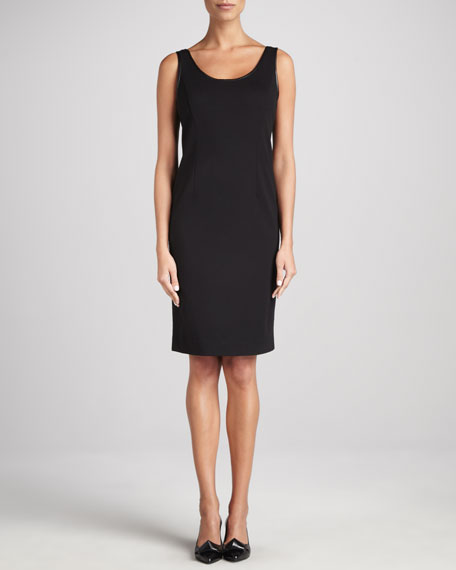 Eileen Fisher Ponte Leather-Trim Sheath Dress
