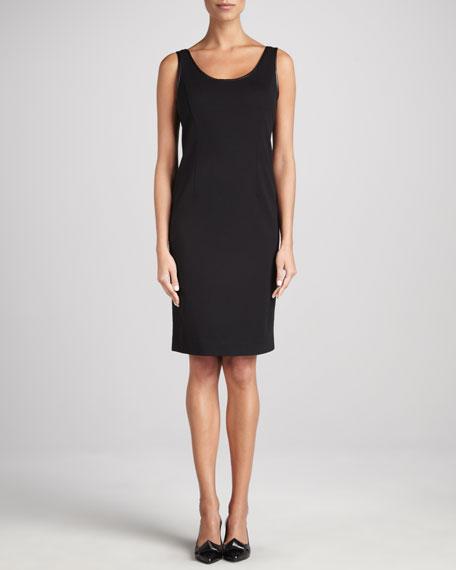 Ponte Leather-Trim Sheath Dress