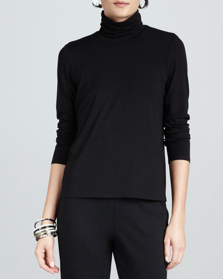 Scrunch-Neck Long-Sleeve Top, Black