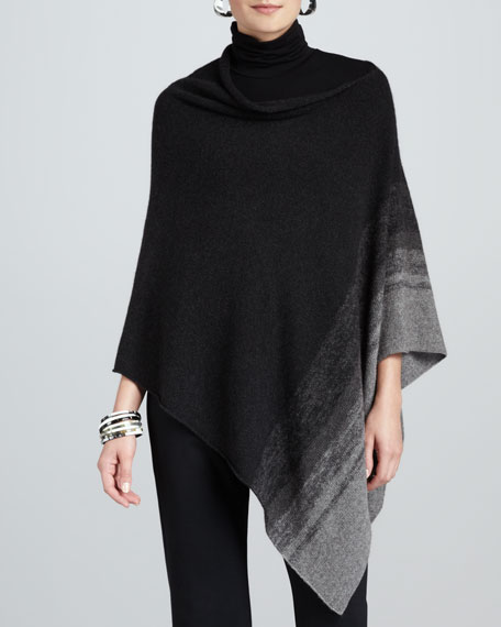 Ombre-Striped Poncho, Ash