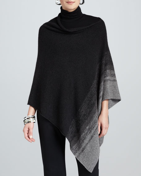 Ombre-Striped Poncho, Women's