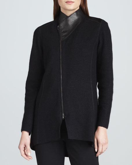 Boiled Wool Asymmetric-Zip Jacket