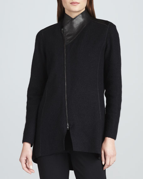 Boiled Wool Asymmetric-Zip Jacket, Petite