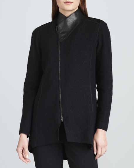 Boiled Wool Asymmetric-Zip Jacket, Women's