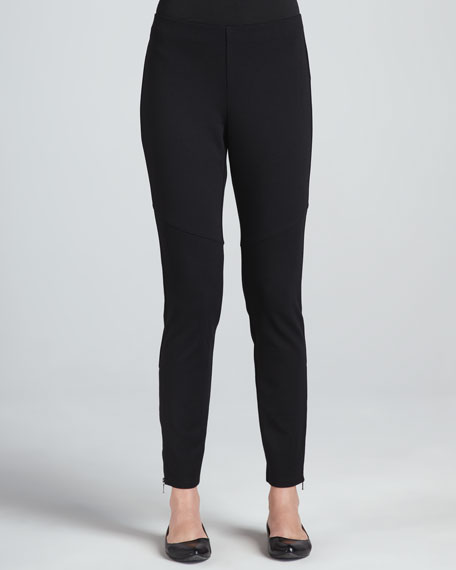 Ponte Skinny Ankle Zip Pants