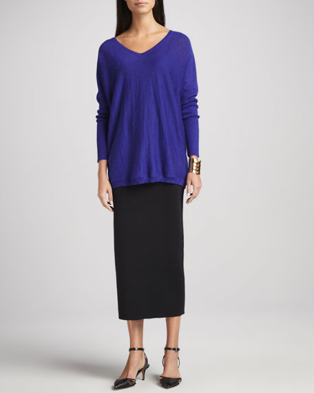 eileen fisher washable wool ankle length pencil skirt s