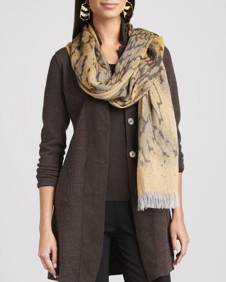 Mottled Linen-Wool Printed Scarf, Ochre